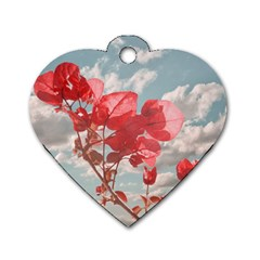 Flowers In The Sky Dog Tag Heart (one Sided)  by dflcprints