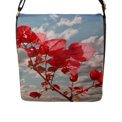 Flowers In The Sky Flap Closure Messenger Bag (large) by dflcprints