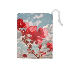 Flowers In The Sky Drawstring Pouch (medium)