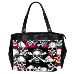 Pink Skull Bling Oversize Office Handbag (two Sides) by OCDesignss