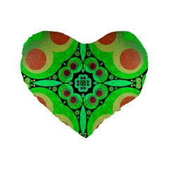 Neon Green  Standard Flano Heart Shape Cushion  by OCDesignss