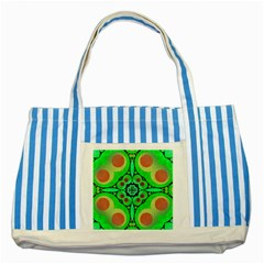 Neon Green  Blue Striped Tote Bag by OCDesignss