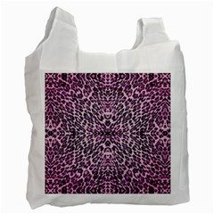 Pink Leopard  White Reusable Bag (two Sides) by OCDesignss
