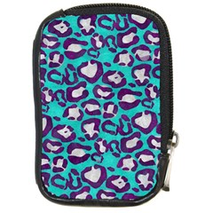 Turquoise Cheetah Compact Camera Leather Case by OCDesignss