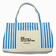 Just Bresthe Blue Striped Tote Bag by OCDesignss