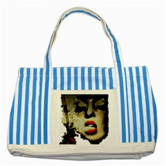 Woman With Attitude Grunge  Blue Striped Tote Bag by OCDesignss