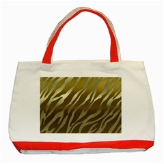 Metal Gold Zebra  Classic Tote Bag (red) by OCDesignss