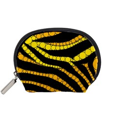 Yellow Bling Zebra  Accessory Pouch (small) by OCDesignss