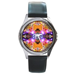 Abstract Flower Round Leather Watch (silver Rim) by icarusismartdesigns