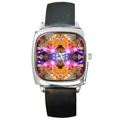 Abstract Flower Square Leather Watch by icarusismartdesigns