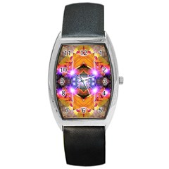 Abstract Flower Tonneau Leather Watch by icarusismartdesigns