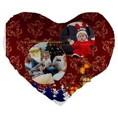 Xmas By Xmas   Large 19  Premium Flano Heart Shape Cushion   Cnuxu4y461d0   Www Artscow Com Front