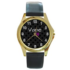 Vape Life Twirlz Round Leather Watch (gold Rim)  by OCDesignss