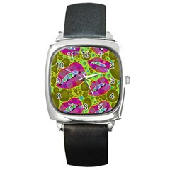 Sassy Lips Bubbles  Square Leather Watch by OCDesignss