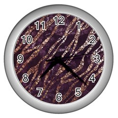 Lavender Gold Zebra  Wall Clock (silver) by OCDesignss