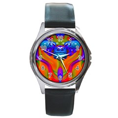 Lava Creature Round Leather Watch (silver Rim) by icarusismartdesigns