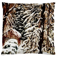 Castle Yard In Winter by Ave Hurley   Large Cushion Case (One Side)