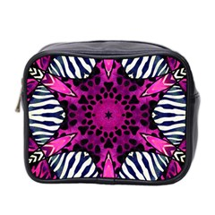 Crazy Hot Pink Zebra  Mini Travel Toiletry Bag (two Sides) by OCDesignss
