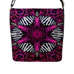 Crazy Hot Pink Zebra  Flap Closure Messenger Bag (large) by OCDesignss