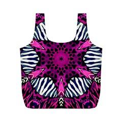 Crazy Hot Pink Zebra  Reusable Bag (m) by OCDesignss