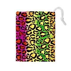 Rainbow Cheetah Abstract Drawstring Pouch (large) by OCDesignss