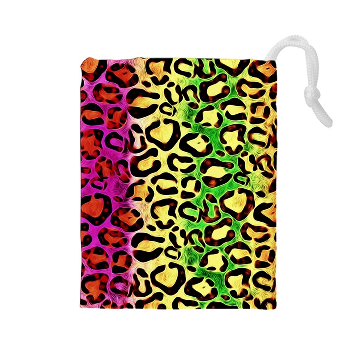 Rainbow Cheetah Abstract Drawstring Pouch (Large)