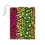 Rainbow Cheetah Abstract Drawstring Pouch (Large) Back