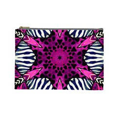 Crazy Hot Pink Zebra  Cosmetic Bag (large) by OCDesignss
