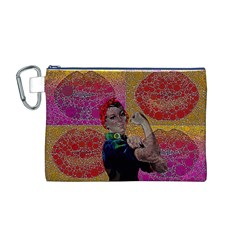 Rosie Pop Lips  Canvas Cosmetic Bag (medium)