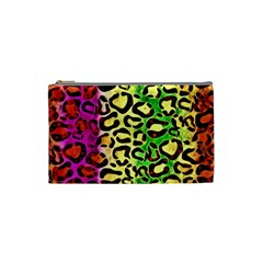 Rainbow Cheetah Abstract Cosmetic Bag (small) by OCDesignss