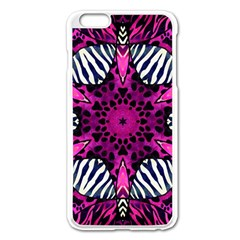 Crazy Hot Pink Zebra  Apple Iphone 6 Plus Enamel White Case by OCDesignss