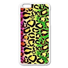 Rainbow Cheetah Abstract Apple Iphone 6 Plus Enamel White Case by OCDesignss