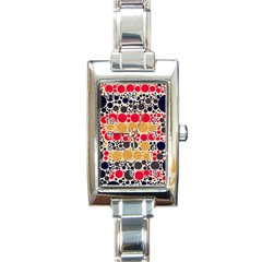 Retro Polka Dots  Rectangular Italian Charm Watch by OCDesignss