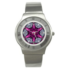 Crazy Hot Pink Zebra  Stainless Steel Watch (slim) by OCDesignss