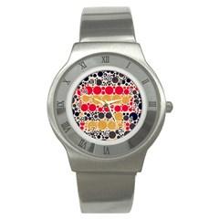 Retro Polka Dots  Stainless Steel Watch (slim) by OCDesignss