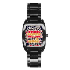 Retro Polka Dots  Stainless Steel Barrel Watch