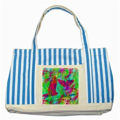 Birds In Flight Blue Striped Tote Bag by icarusismartdesigns