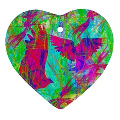Birds In Flight Heart Ornament (two Sides) by icarusismartdesigns