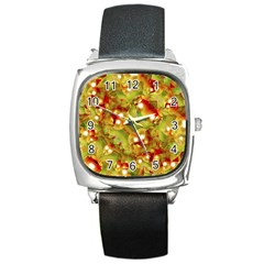 Christmas Print Motif Square Leather Watch by dflcprints