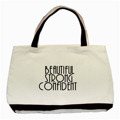 Beautiful Strong Confident  Twin Sided Black Tote Bag by OCDesignss