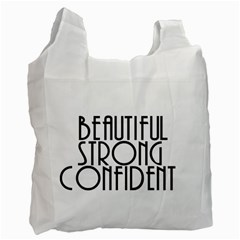 Beautiful Strong Confident  White Reusable Bag (one Side)