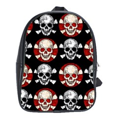 Red Black Skull Polkadots  School Bag (xl) by OCDesignss