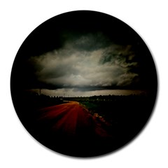 Dark Empty Road 8  Mouse Pad (round) by dflcprints
