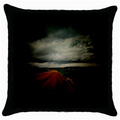 Dark Empty Road Black Throw Pillow Case by dflcprints