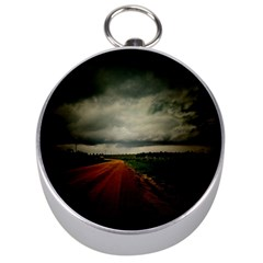 Dark Empty Road Silver Compass by dflcprints