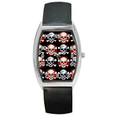 Red Black Skull Polkadots  Tonneau Leather Watch by OCDesignss