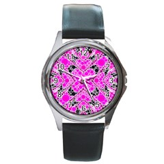Bling Pink Black Kieledescope  Round Leather Watch (silver Rim) by OCDesignss