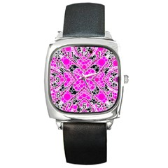 Bling Pink Black Kieledescope  Square Leather Watch by OCDesignss