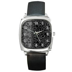 Black Cheetah Abstract Square Leather Watch by OCDesignss