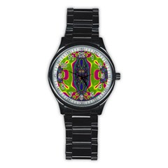 Hippie Fractal  Sport Metal Watch (black) by OCDesignss